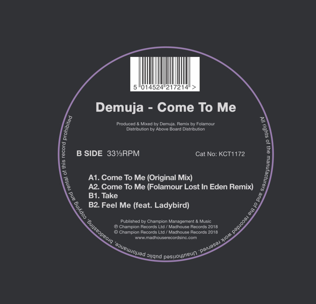KCT1172 - Demuja - Come To Me - Final Label - BACK